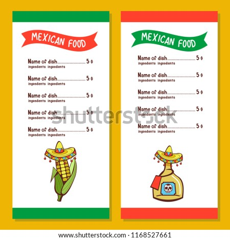 mexican restaurant menu template corn on stock vector royalty free