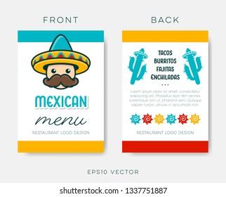 Mexican restaurant menu template vector brochure design