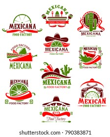 Mexican restaurant sign with pepper and sombrero. Spicy chili salsa and tomato sauce, taco, tequila and lime icon, decorated with cactus and maracas for mexican cuisine menu design