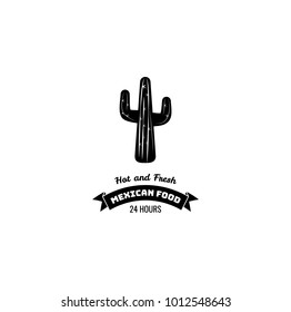 Mexican restaurant vector icon template of cactus. Hot and frash.
