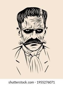 Mexican revolutionary monster vector illustration