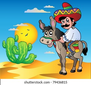 Mexican riding donkey in desert - vector illustration.