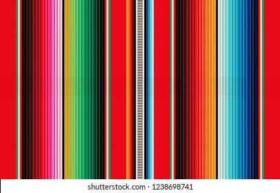 mexican rug pattern. serape stripes vector. detail background with mexican colors.