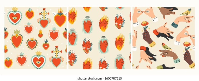Mexican Sacred hearts, anatomical hearts in jars, hearts on fire, various human arms or hands. Set of three Hand drawn colored trendy vector seamless patterns. Wallpapers, background textures
