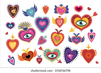 Mexican sacred hearts set, spirit mystical miracles heart. Day of the dead Dia de los Muertos holiday. Vector illustration
