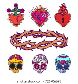 Mexican sacred hearts, sugar skulls and crown of thorns.