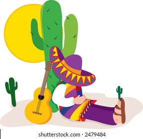 Mexican Scene with Man and Sombrero