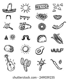Mexican seamless hand drawn icons set
