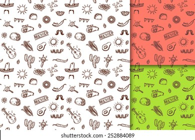 Mexican seamless hand drawn patterns set