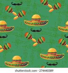 Mexican seamless music pattern with sombrero hat, mustache and maracas vector background. Perfect for wallpapers, pattern fills, web page backgrounds, surface textures, textile