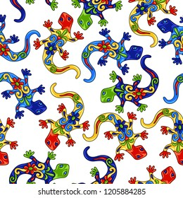 Mexican seamless pattern with lizards. Traditional decorative objects. Talavera ornamental ceramic. Ethnic folk ornament.
