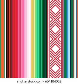 Mexican seamless pattern. Striped texture with ornament for plaid, blanket, carpet . Background for decoration. Vector illustration