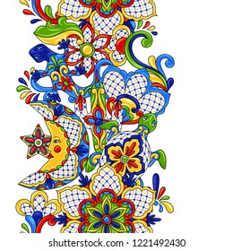Mexican seamless pattern. Traditional decorative objects. Talavera ornamental ceramic. Ethnic folk ornament.