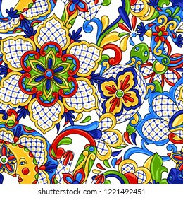 Mexican seamless pattern. Traditional decorative objects. Talavera ornamental ceramic. Ethnic folk ornament.