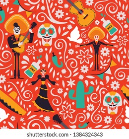 Mexican seamless pattern with traditional mexico culture decoration. Mariachi background for holiday celebration or special country event.