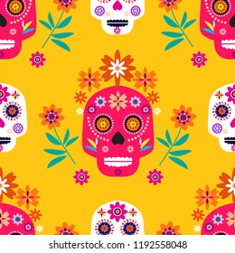 Mexican seamless pattern,sugar skulls and colorful flowers. Template  for mexican celebration, traditional mexico skeleton decoration. Dia de Los Muertos, Day of the Dead .Vector illustration.
