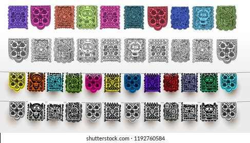 Mexican set of bunting for Day of the Dead. Hand drawn. For your design horizontal web banner. Vector illustration. Isolated on white background.