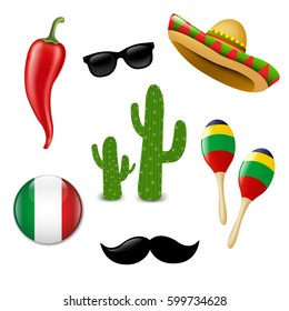 Mexican Set With Gradient Mesh, Vector Illustration