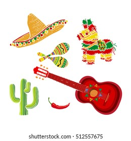 Mexican set - sombrero, pinata, maraca, tequila cactus, chili and spanish guitar, vector illustration isolated on white background. Mexican sombrero, rumba shakers, ornamented pinata, cactus