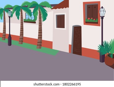 Mexican sidewalk flat color vector illustration. Street with palm trees. Empty daytime traffic road. Resort boulevard for recreation. Mexico 2D cartoon cityscape with building exteriors on background