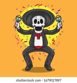 Mexican skeleton dancing in a cinco de mayo party with maracas