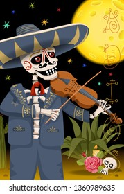 Mexican skeleton. Day of the dead holiday. Mexican party illustration.