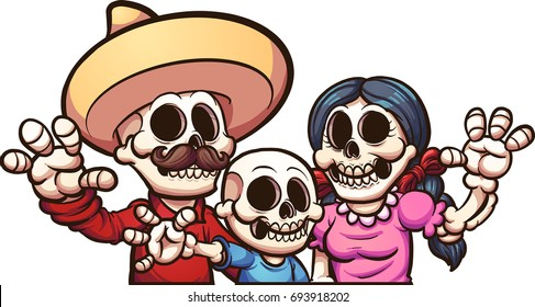Mexican skeleton family. Vector clip art illustration with simple gradients. Each on a separate layer.