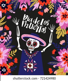 Mexican skeleton in the floral frame with lettering. Vector holiday illustration for Day of the dead or Dia de los muertos. Funny card design.