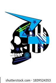 Mexican skull, blue Devil with horns, vector illustration