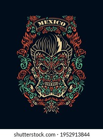 Mexican skull, day of the dead