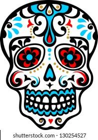 mexican skull - flower ornament - el dia de los muertos - day of the dead - vector image