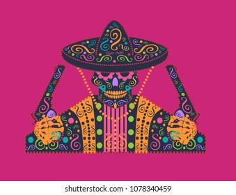 Mexican skull icon with sombrero and pistols with ornament details 33fa716f390
