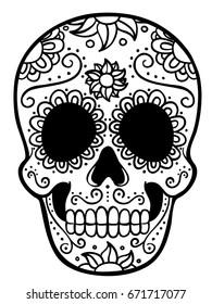 Mexican Skull Line Art