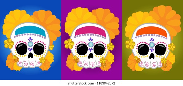 Mexican skull posters with bright colors, with the theme of the day of dead for decoration.