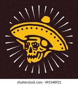 Mexican skull in sombrero Dia de los Muertos (Day of the Dead) skull in sombrero. Vector illustration on grunge texture background.
