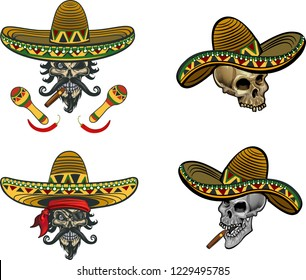mexican skull with sombrero and gun