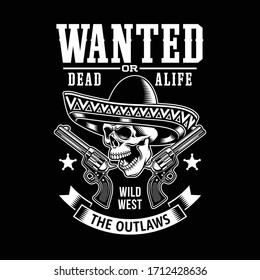 Mexican Skull With Sombrero and Guns