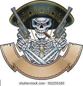 mexican skull with sombrero, guns and banner