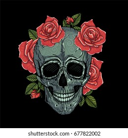 Mexican skull vector illustration tattoo, hand drawn. T-shirt print. Colors