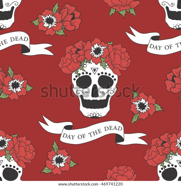 Mexican Skulls Flower Wreaths Hand Drawn Stock Vector Royalty Images, Photos, Reviews