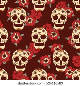 Mexican skulls and flowers hand drawn background. Gothic backdrop vector. Seamless pattern with sugar skulls. Day of the dead, traditional holiday in Mexico. Decorative wallpaper, good for printing