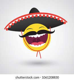 Mexican Smiley Black Sombrero Vector de stock (libre de regalías ... e442faaf048