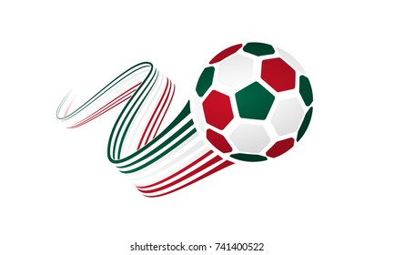Mexican soccer ball isolated on white background with winding ribbons on green, white and red colors