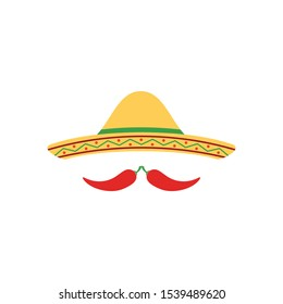 Mexican sombrero hat with chili for restaurant logo design. Flat style mexican sombrero hat. Mexican menu modern design.