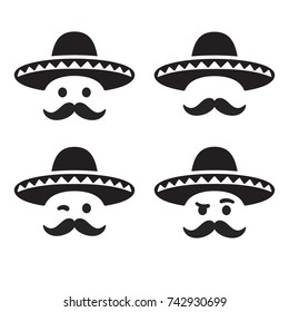 Mexican sombrero hat with funny mustache smiley face, different expressions set. Simple and minimal vector illustration, icon or logo.