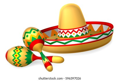 a907489e0ca51 A Mexican sombrero hat and maracas shakers illustration