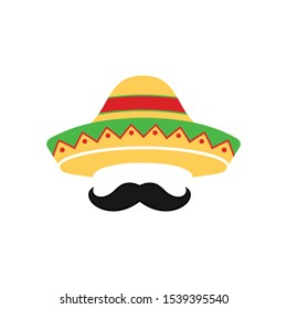 Mexican sombrero hat with moustache or mustache for restaurant logo design. Flat style mexican sombrero hat. Mexican menu modern design.