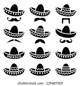 Mexican Sombrero hat with moustache or mustache icons 35e785c7ba6