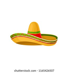 Mexican sombrero hat vector Illustration on a white background
