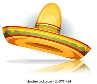 Mexican Sombrero/ Illustration of a funny cartoon mexican sombrero with vintage texture